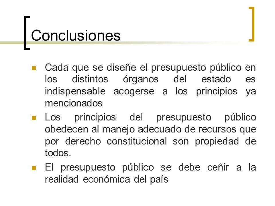 Conclusiones Cada que se diseñe el presupuesto público en los distintos órganos del estado es indispensable acogerse a los principios ya mencionados L
