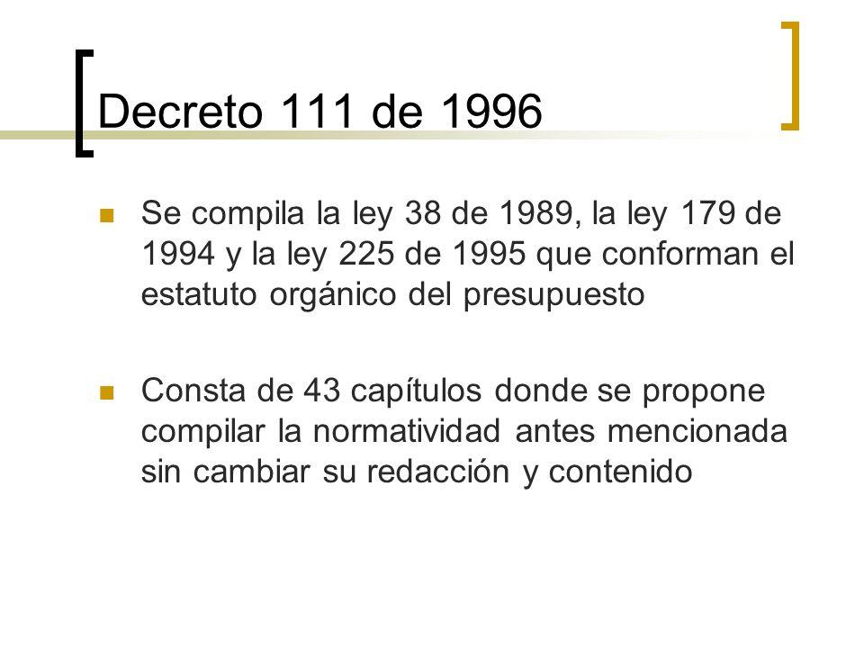 Decreto 111 de 1996 Se compila la ley 38 de 1989, la ley 179 de 1994 y la ley 225 de 1995 que conforman el estatuto orgánico del presupuesto Consta de