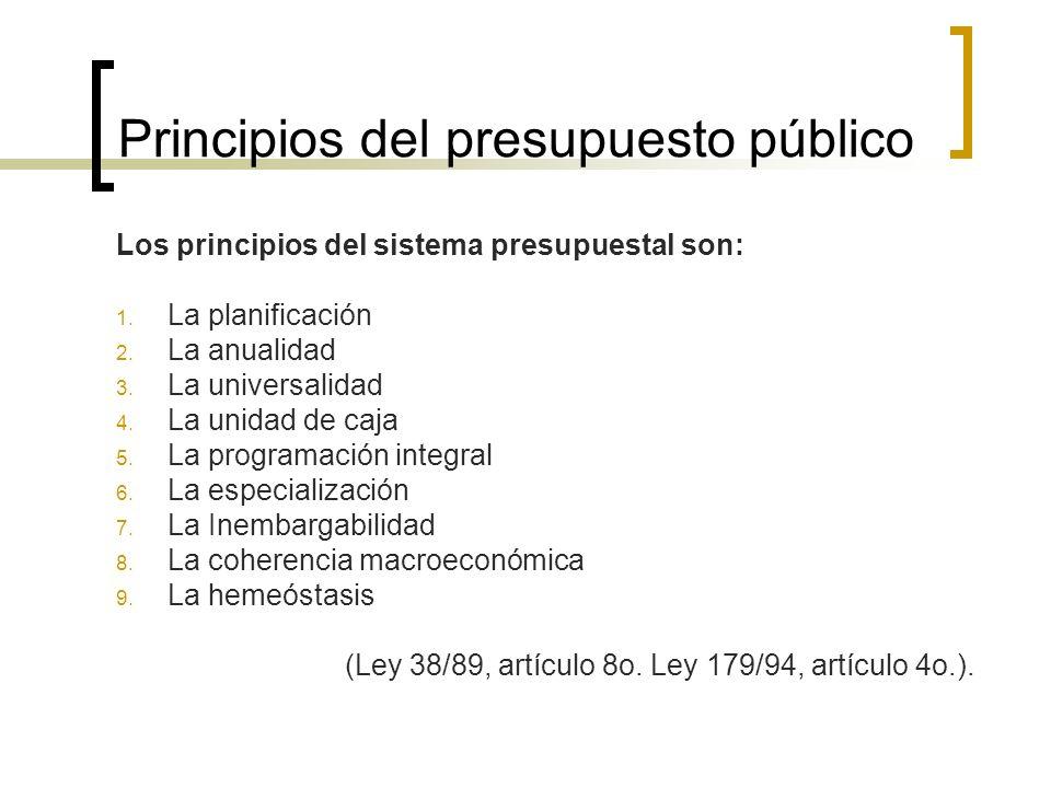 Principios del presupuesto público Los principios del sistema presupuestal son: 1. La planificación 2. La anualidad 3. La universalidad 4. La unidad d