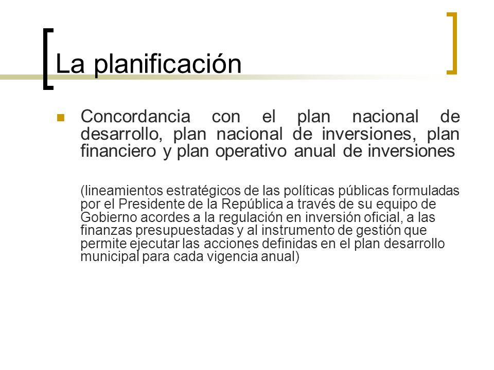 La planificación Concordancia con el plan nacional de desarrollo, plan nacional de inversiones, plan financiero y plan operativo anual de inversiones