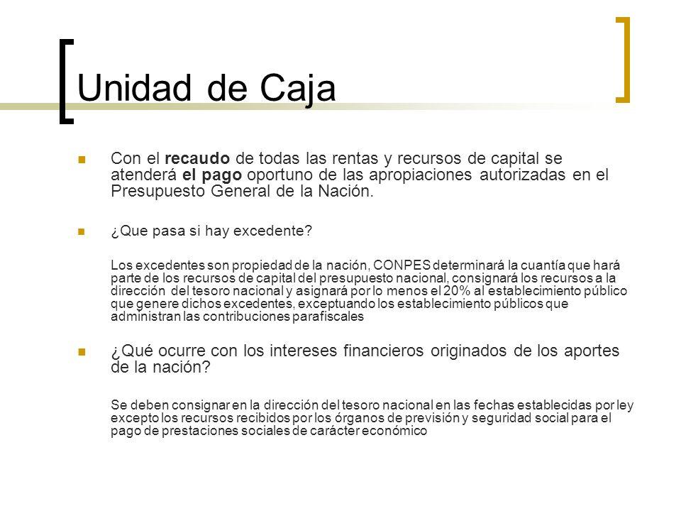 Unidad de Caja Con el recaudo de todas las rentas y recursos de capital se atenderá el pago oportuno de las apropiaciones autorizadas en el Presupuest
