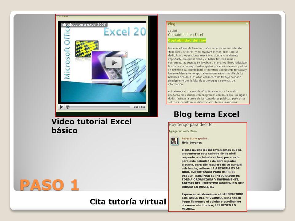 PASO 1 Video tutorial Excel básico Blog tema Excel Cita tutoría virtual