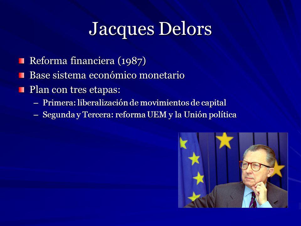 Jacques Delors Reforma financiera (1987) Base sistema económico monetario Plan con tres etapas: –Primera: liberalización de movimientos de capital –Se
