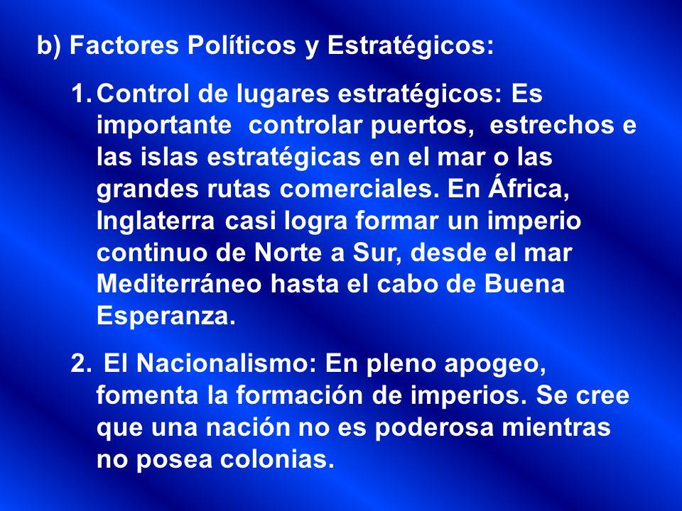 b) Factores Políticos y Estratégicos: 1.Control de lugares estratégicos: Es importante controlar puertos, estrechos e las islas estratégicas en el mar