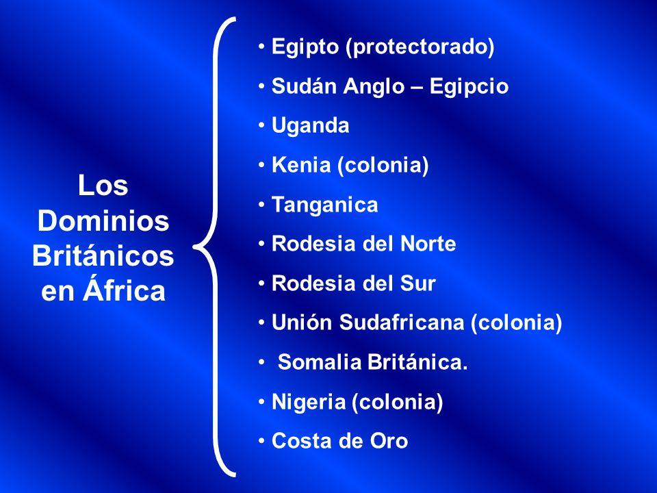 Egipto (protectorado) Sudán Anglo – Egipcio Uganda Kenia (colonia) Tanganica Rodesia del Norte Rodesia del Sur Unión Sudafricana (colonia) Somalia Bri