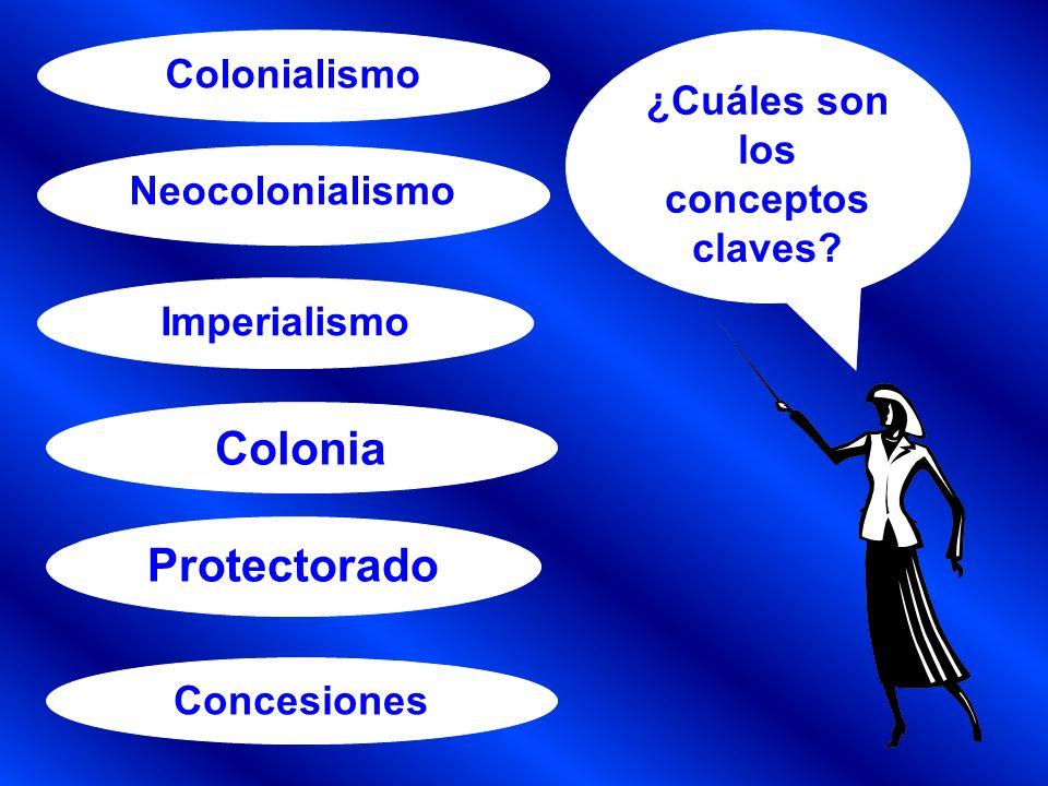 Neocolonialismo Protectorado Imperialismo Concesiones Colonialismo Colonia ¿Cuáles son los conceptos claves?