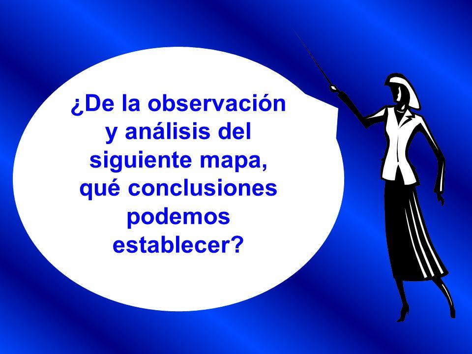 ¿De la observación y análisis del siguiente mapa, qué conclusiones podemos establecer?