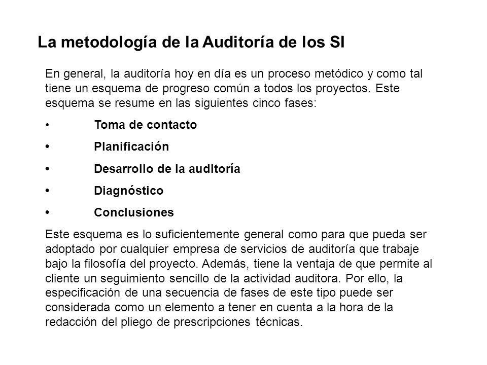 La metodología de la Auditoría de los SI En general, la auditoría hoy en día es un proceso metódico y como tal tiene un esquema de progreso común a to