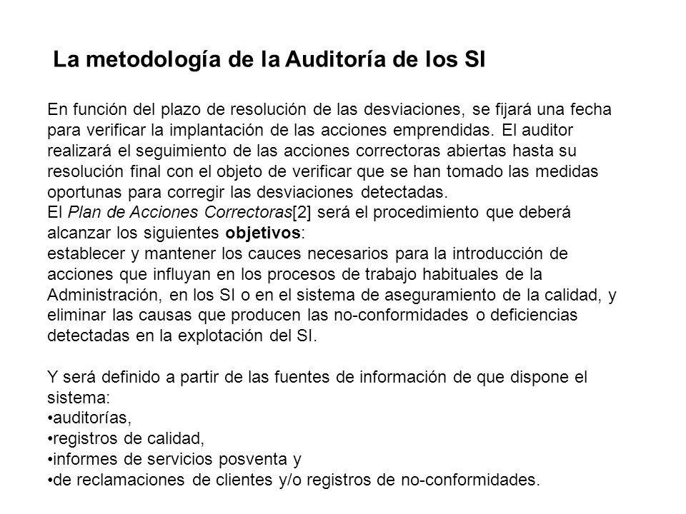 La metodología de la Auditoría de los SI En función del plazo de resolución de las desviaciones, se fijará una fecha para verificar la implantación de