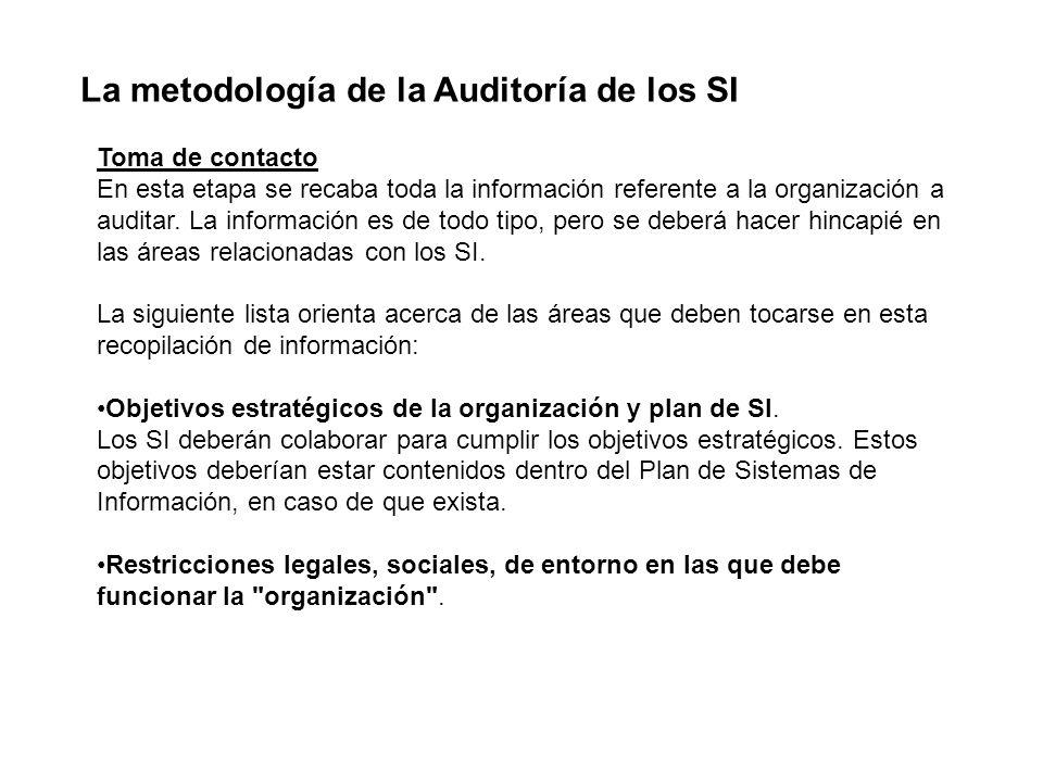 La metodología de la Auditoría de los SI Toma de contacto En esta etapa se recaba toda la información referente a la organización a auditar. La inform