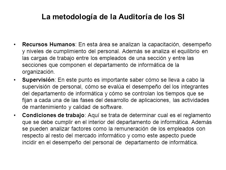 La metodología de la Auditoría de los SI Recursos Humanos: En esta área se analizan la capacitación, desempeño y niveles de cumplimiento del personal.