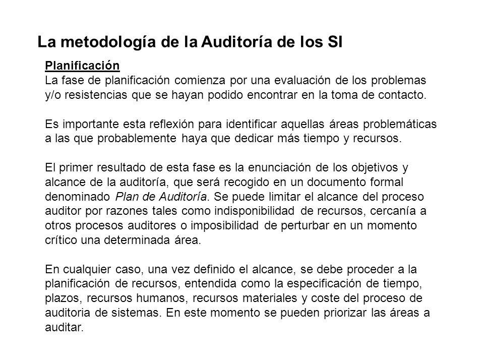 La metodología de la Auditoría de los SI Planificación La fase de planificación comienza por una evaluación de los problemas y/o resistencias que se h