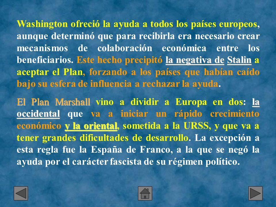la negativa deStalin Washington ofreció la ayuda a todos los países europeos, aunque determinó que para recibirla era necesario crear mecanismos de co