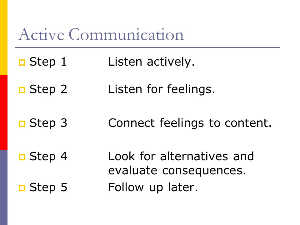 Active Communication Step 1Listen actively. Step 2Listen for feelings. Step 3Connect feelings to content. Step 4Look for alternatives and evaluate con