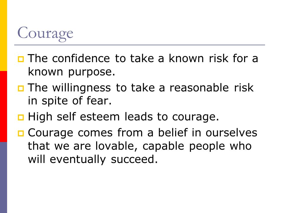 Courage The confidence to take a known risk for a known purpose. The willingness to take a reasonable risk in spite of fear. High self esteem leads to