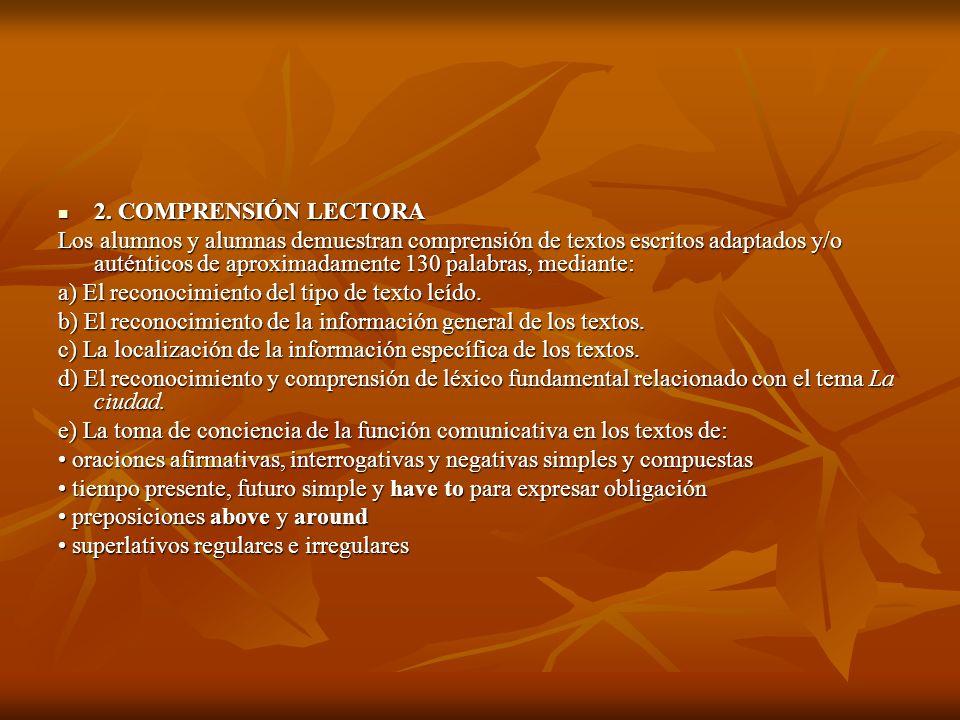 2. COMPRENSIÓN LECTORA 2. COMPRENSIÓN LECTORA Los alumnos y alumnas demuestran comprensión de textos escritos adaptados y/o auténticos de aproximadame
