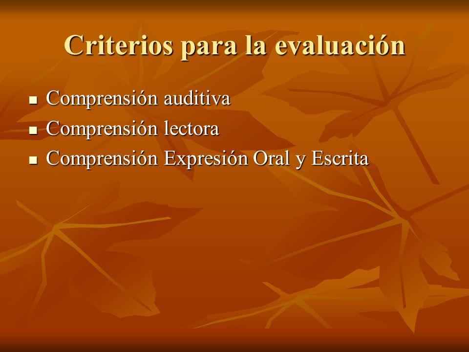 Criterios para la evaluación Comprensión auditiva Comprensión auditiva Comprensión lectora Comprensión lectora Comprensión Expresión Oral y Escrita Co