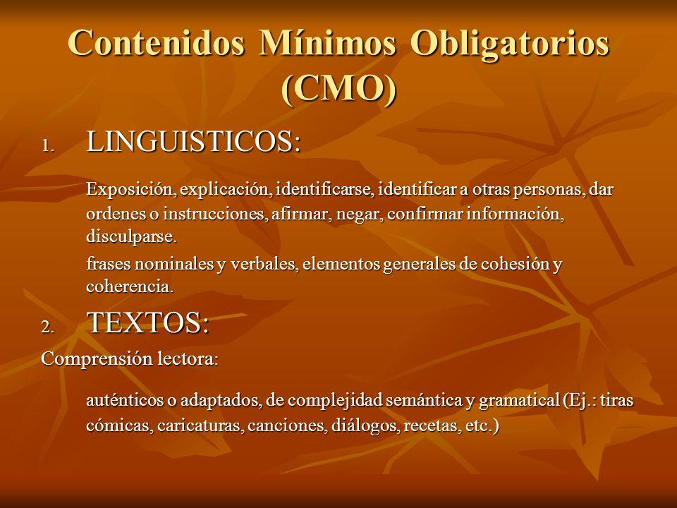 Contenidos Mínimos Obligatorios (CMO) 1. LINGUISTICOS: Exposición, explicación, identificarse, identificar a otras personas, dar ordenes o instruccion