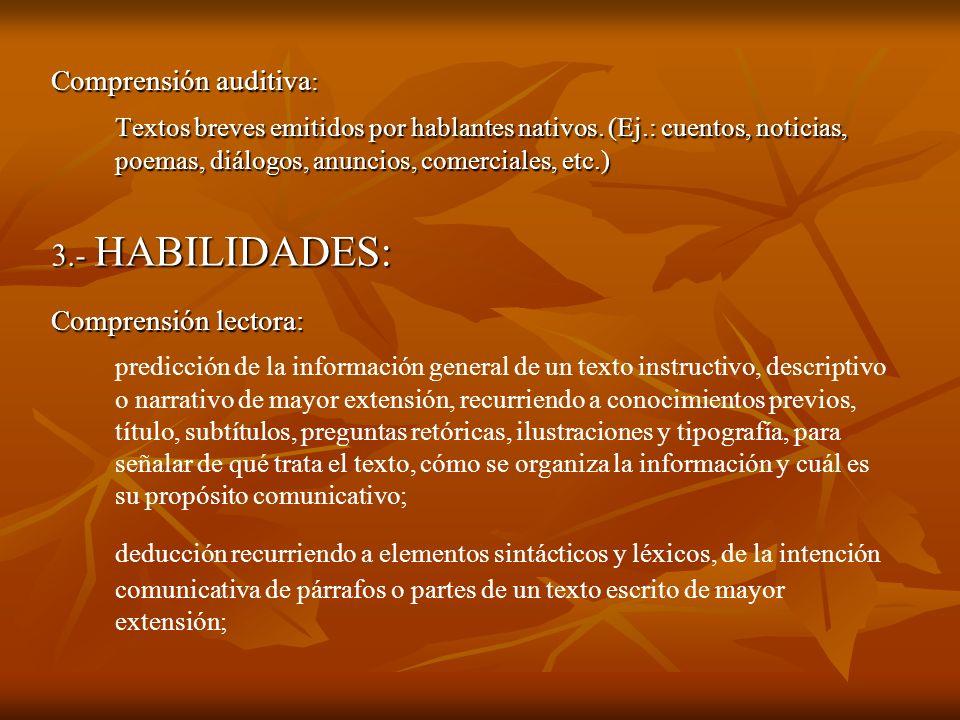 Comprensión auditiva : Textos breves emitidos por hablantes nativos. (Ej.: cuentos, noticias, poemas, diálogos, anuncios, comerciales, etc.) 3.- HABIL