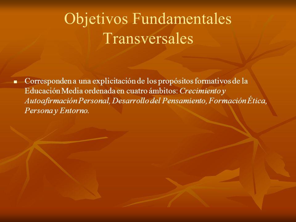Objetivos Fundamentales Transversales Corresponden a una explicitación de los propósitos formativos de la Educación Media ordenada en cuatro ámbitos: