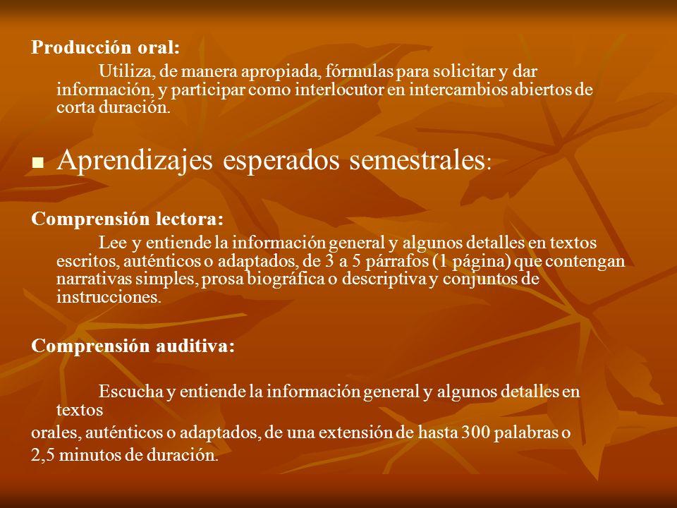 Producción oral: Utiliza, de manera apropiada, fórmulas para solicitar y dar información, y participar como interlocutor en intercambios abiertos de c