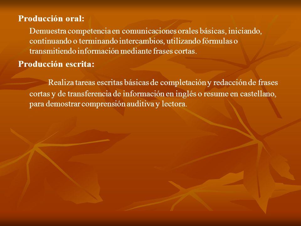 Producción oral: Demuestra competencia en comunicaciones orales básicas, iniciando, continuando o terminando intercambios, utilizando fórmulas o trans