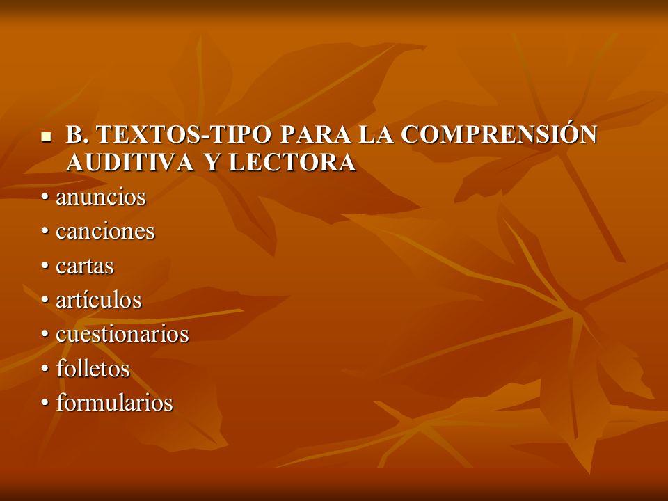 B. TEXTOS-TIPO PARA LA COMPRENSIÓN AUDITIVA Y LECTORA B. TEXTOS-TIPO PARA LA COMPRENSIÓN AUDITIVA Y LECTORA anuncios anuncios canciones canciones cart