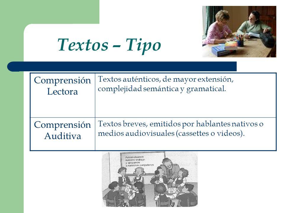 Textos – Tipo Comprensión Lectora Textos auténticos, de mayor extensión, complejidad semántica y gramatical. Comprensión Auditiva Textos breves, emiti