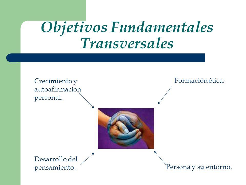 Objetivos Fundamentales Transversales Crecimiento y autoafirmación personal. Desarrollo del pensamiento. Formación ética. Persona y su entorno.
