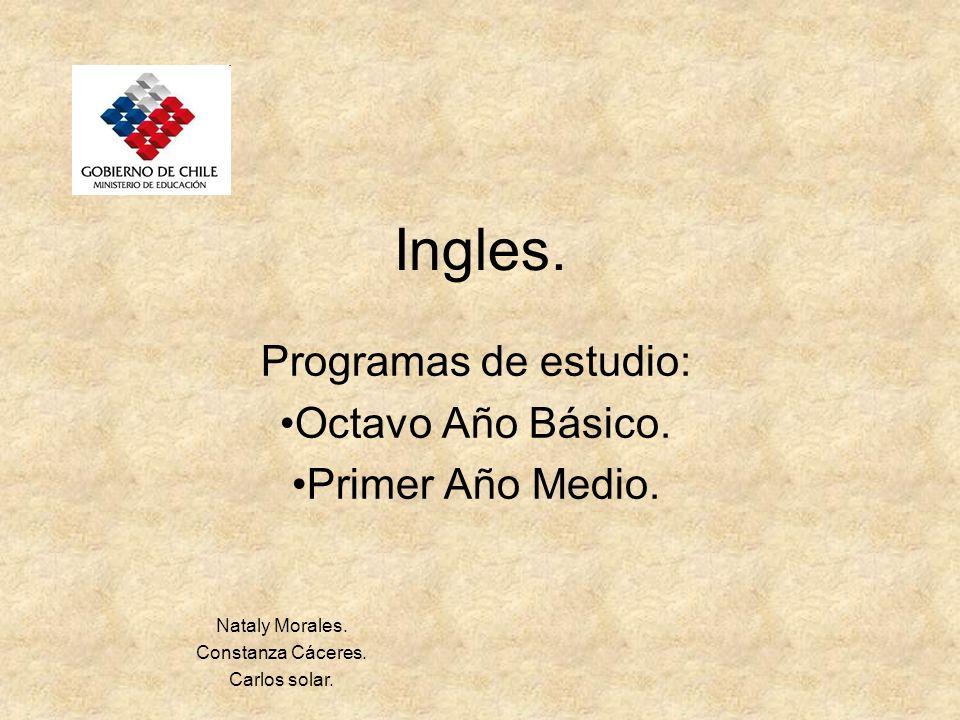 Ingles. Programas de estudio: Octavo Año Básico. Primer Año Medio. Nataly Morales. Constanza Cáceres. Carlos solar.