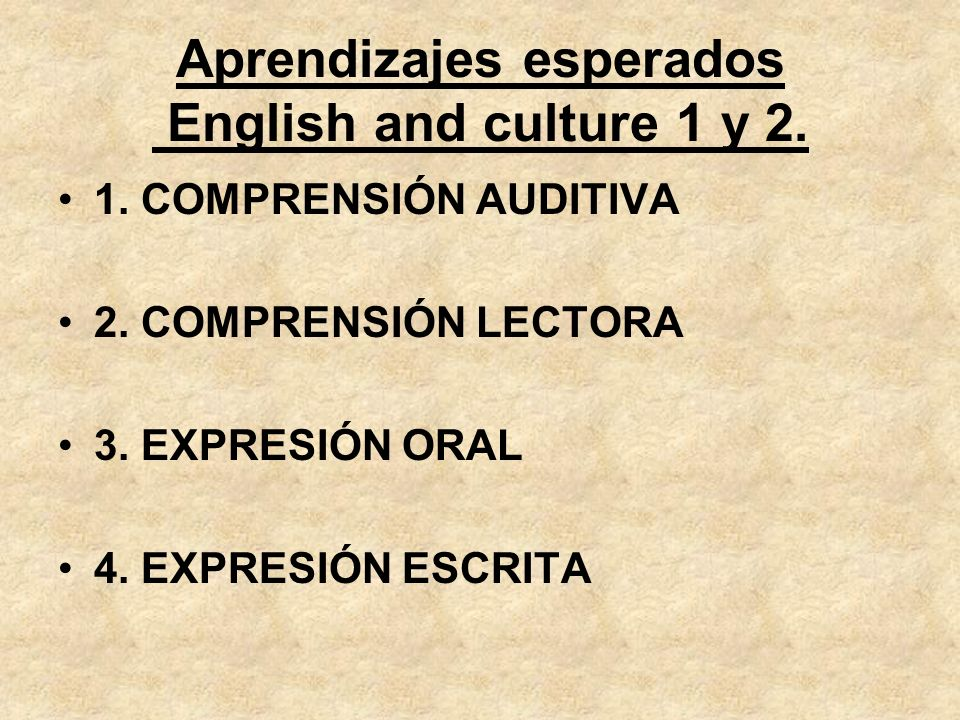 Aprendizajes esperados English and culture 1 y 2. 1. COMPRENSIÓN AUDITIVA 2. COMPRENSIÓN LECTORA 3. EXPRESIÓN ORAL 4. EXPRESIÓN ESCRITA