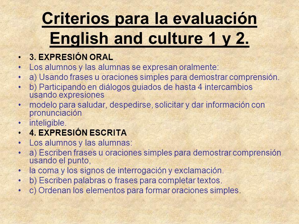 Criterios para la evaluación English and culture 1 y 2. 3. EXPRESIÓN ORAL Los alumnos y las alumnas se expresan oralmente: a) Usando frases u oracione