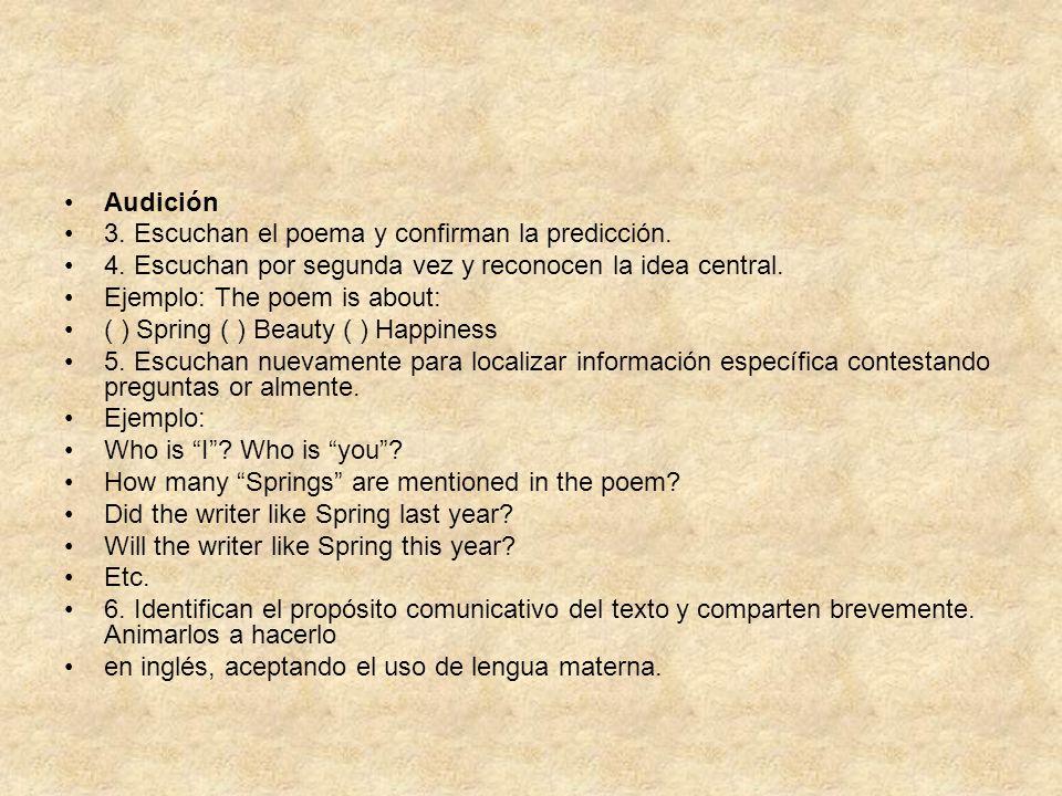 Audición 3. Escuchan el poema y confirman la predicción. 4. Escuchan por segunda vez y reconocen la idea central. Ejemplo: The poem is about: ( ) Spri