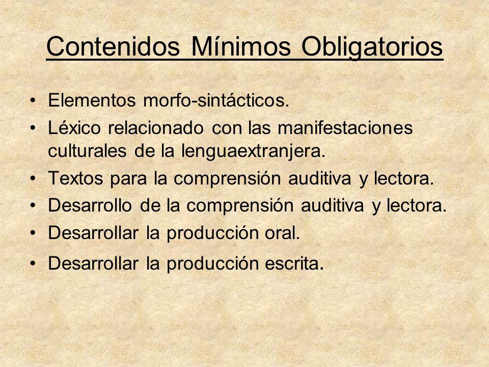 Contenidos Mínimos Obligatorios Elementos morfo-sintácticos. Léxico relacionado con las manifestaciones culturales de la lenguaextranjera. Textos para