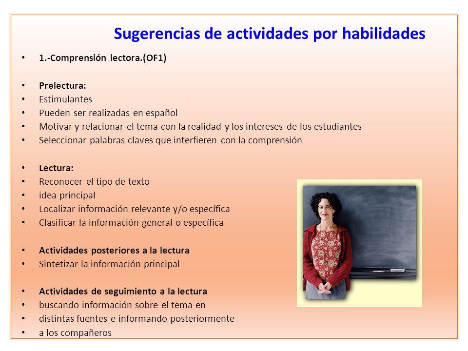 Sugerencias de actividades por habilidades 1.-Comprensión lectora.(OF1) Prelectura: Estimulantes Pueden ser realizadas en español Motivar y relacionar