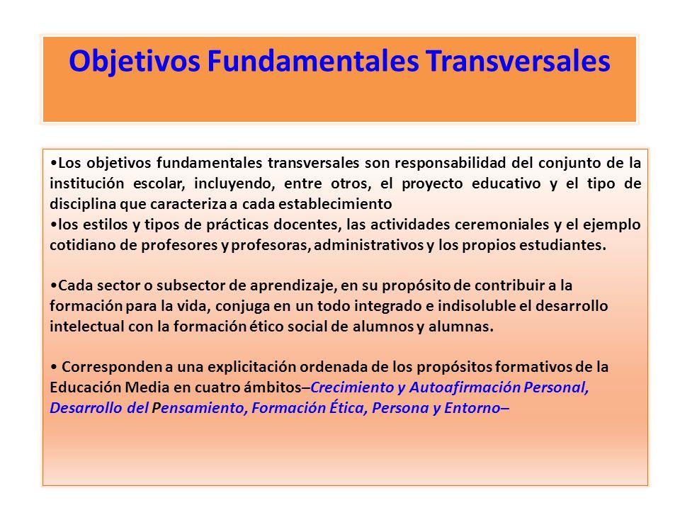 Los objetivos fundamentales transversales son responsabilidad del conjunto de la institución escolar, incluyendo, entre otros, el proyecto educativo y