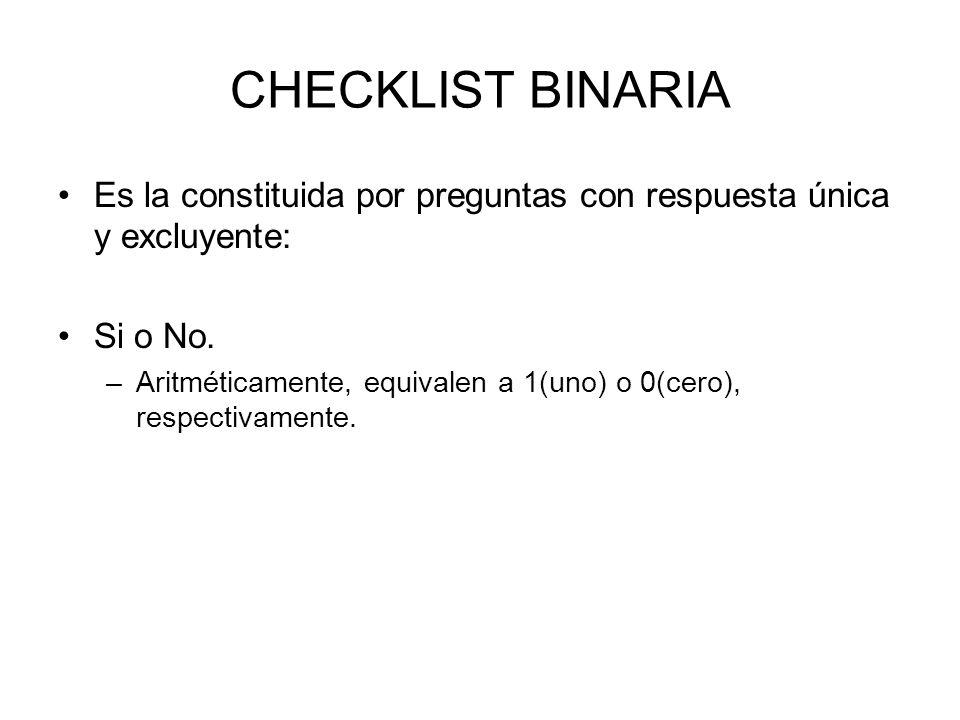 CHECKLIST BINARIA Es la constituida por preguntas con respuesta única y excluyente: Si o No. –Aritméticamente, equivalen a 1(uno) o 0(cero), respectiv