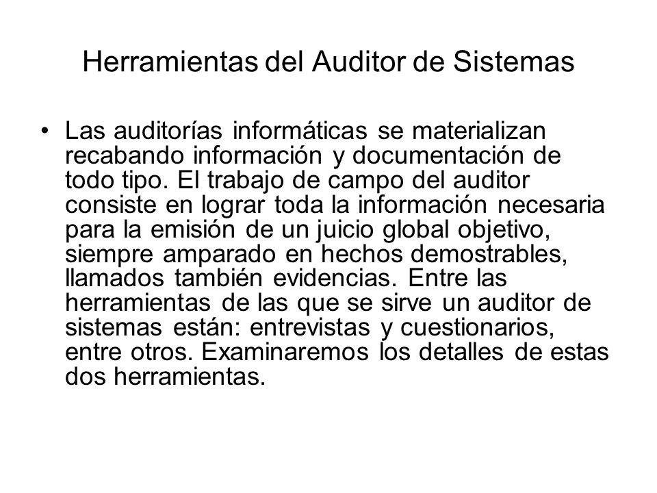 Herramientas del Auditor de Sistemas Las auditorías informáticas se materializan recabando información y documentación de todo tipo. El trabajo de cam