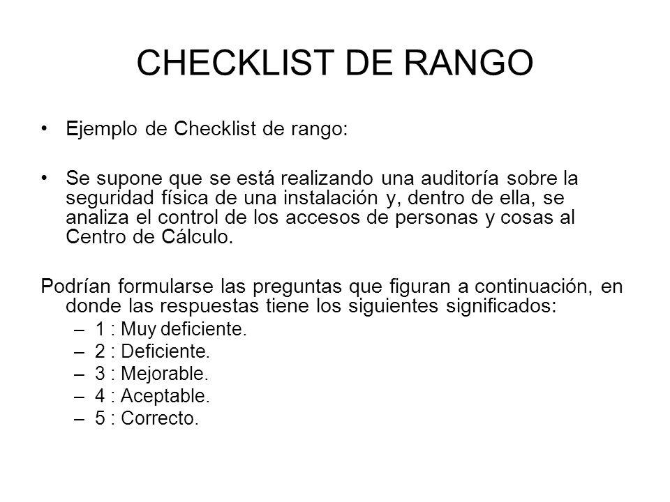 CHECKLIST DE RANGO Ejemplo de Checklist de rango: Se supone que se está realizando una auditoría sobre la seguridad física de una instalación y, dentr
