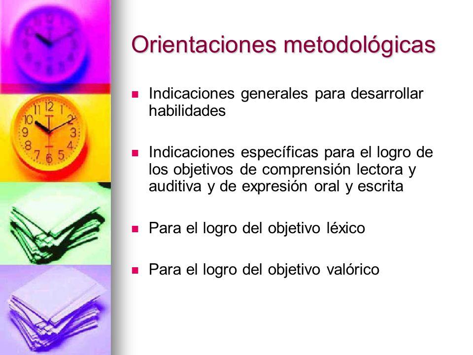 Orientaciones metodológicas Indicaciones generales para desarrollar habilidades Indicaciones específicas para el logro de los objetivos de comprensión