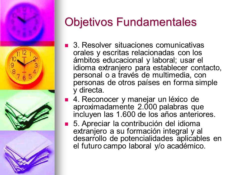 Objetivos Fundamentales 3. Resolver situaciones comunicativas orales y escritas relacionadas con los ámbitos educacional y laboral; usar el idioma ext