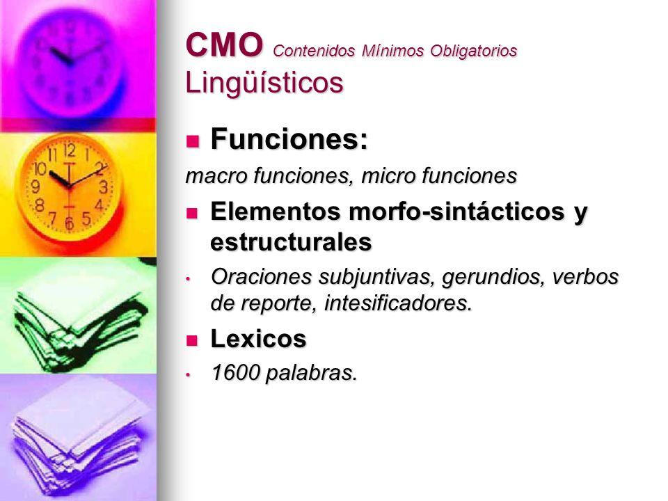 CMO Contenidos Mínimos Obligatorios Lingüísticos Funciones: Funciones: macro funciones, micro funciones Elementos morfo-sintácticos y estructurales El