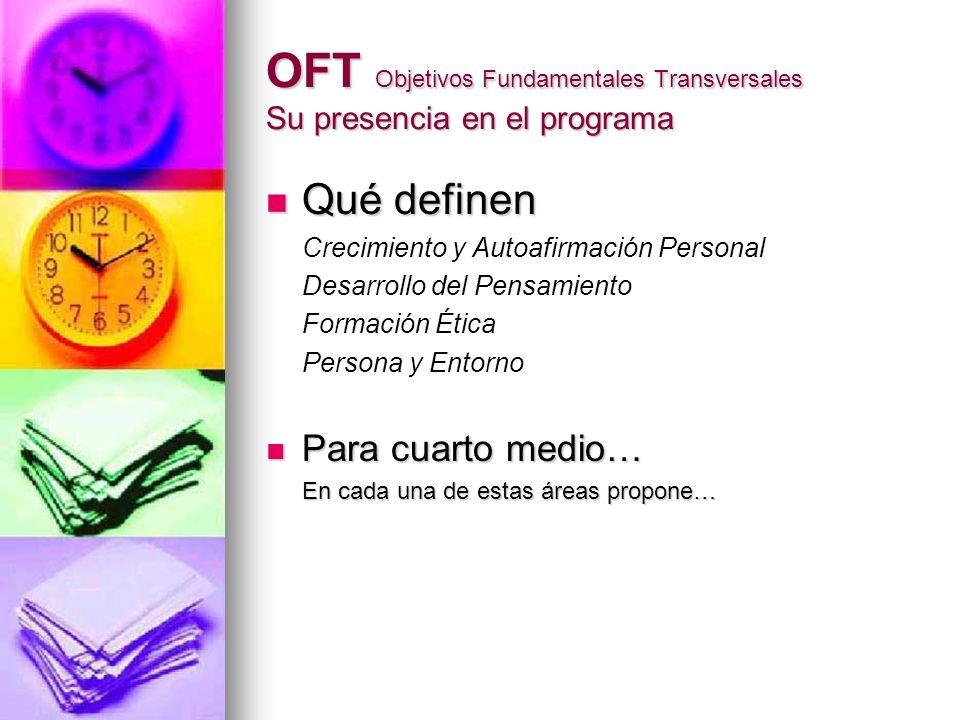 OFT Objetivos Fundamentales Transversales Su presencia en el programa Qué definen Qué definen Crecimiento y Autoafirmación Personal Desarrollo del Pen