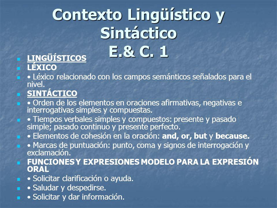 English and Culture 1 & 2 Contenidos TÉCNICAS TÉCNICAS PARA EL DESARROLLO DE LA COMPRENSIÓN AUDITIVA Y LECTORA PARA EL DESARROLLO DE LA COMPRENSIÓN AU