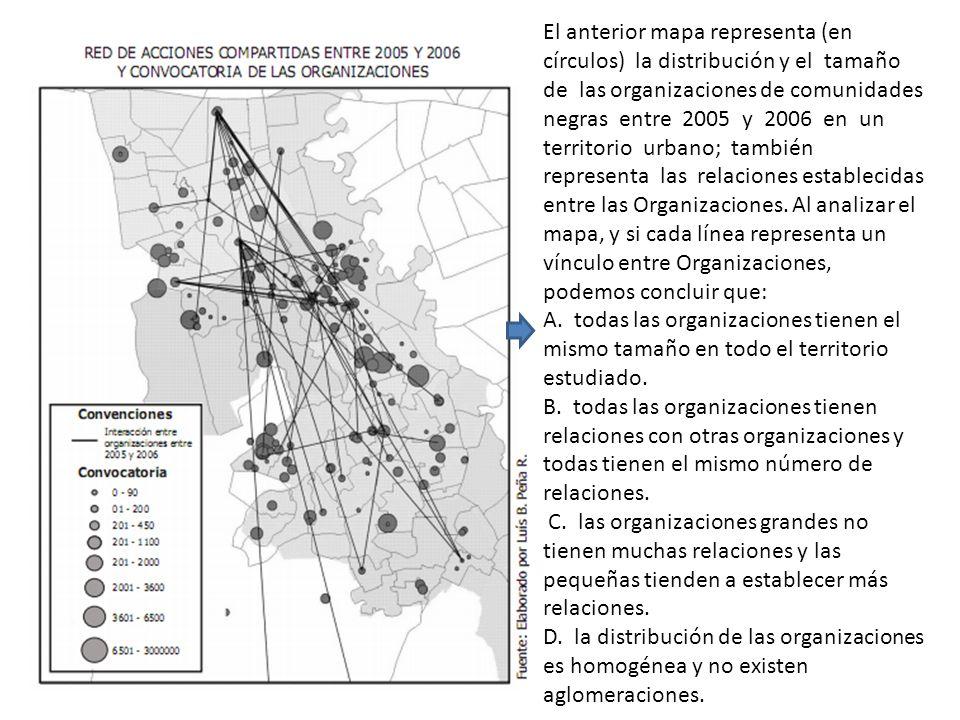 El anterior mapa representa (en círculos) la distribución y el tamaño de las organizaciones de comunidades negras entre 2005 y 2006 en un territorio u