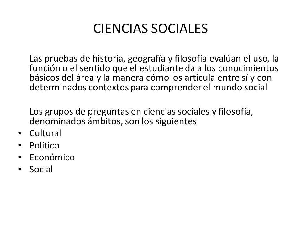 CIENCIAS SOCIALES Las pruebas de historia, geografía y filosofía evalúan el uso, la función o el sentido que el estudiante da a los conocimientos bási