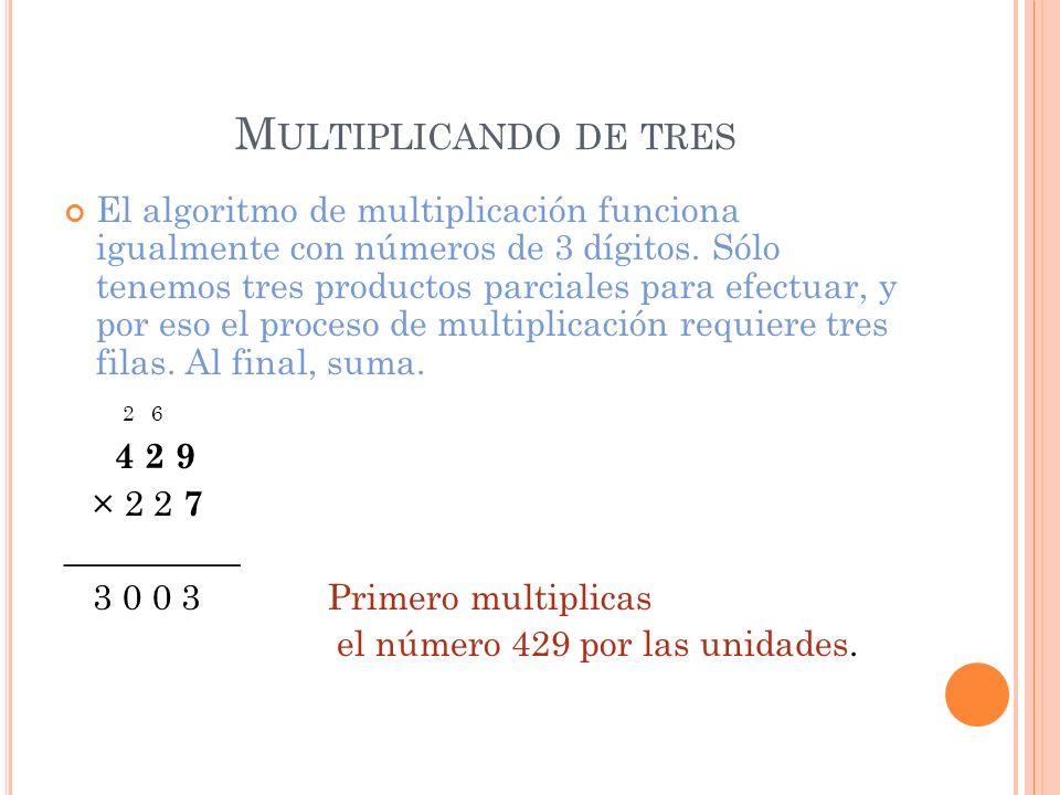 M ULTIPLICANDO DE TRES El algoritmo de multiplicación funciona igualmente con números de 3 dígitos. Sólo tenemos tres productos parciales para efectua