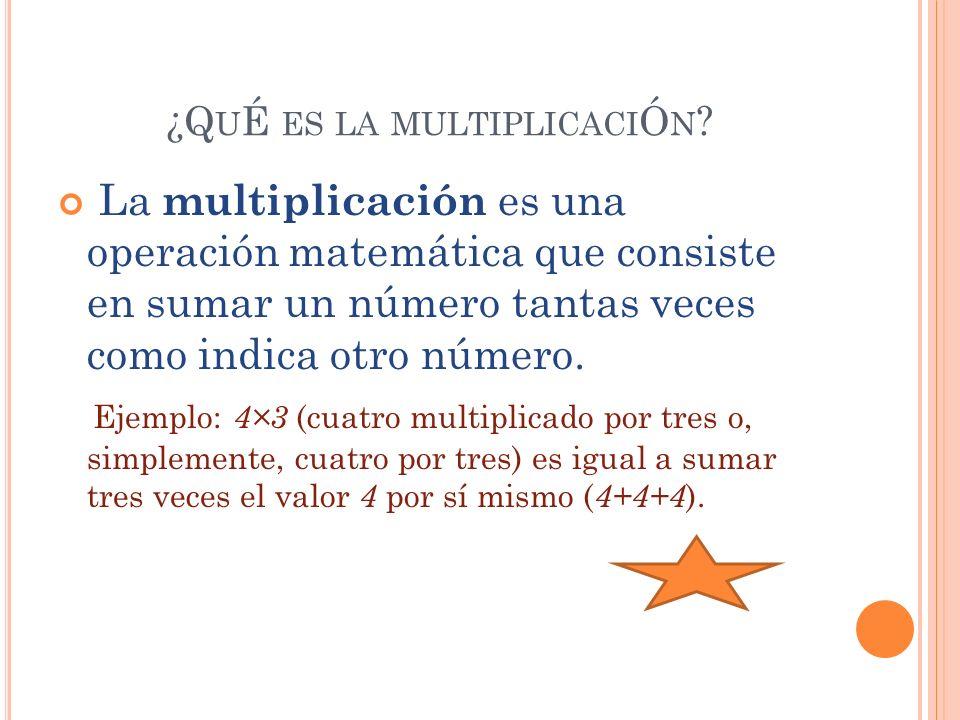 ¿Q U É ES LA MULTIPLICACI Ó N ? La multiplicación es una operación matemática que consiste en sumar un número tantas veces como indica otro número. Ej