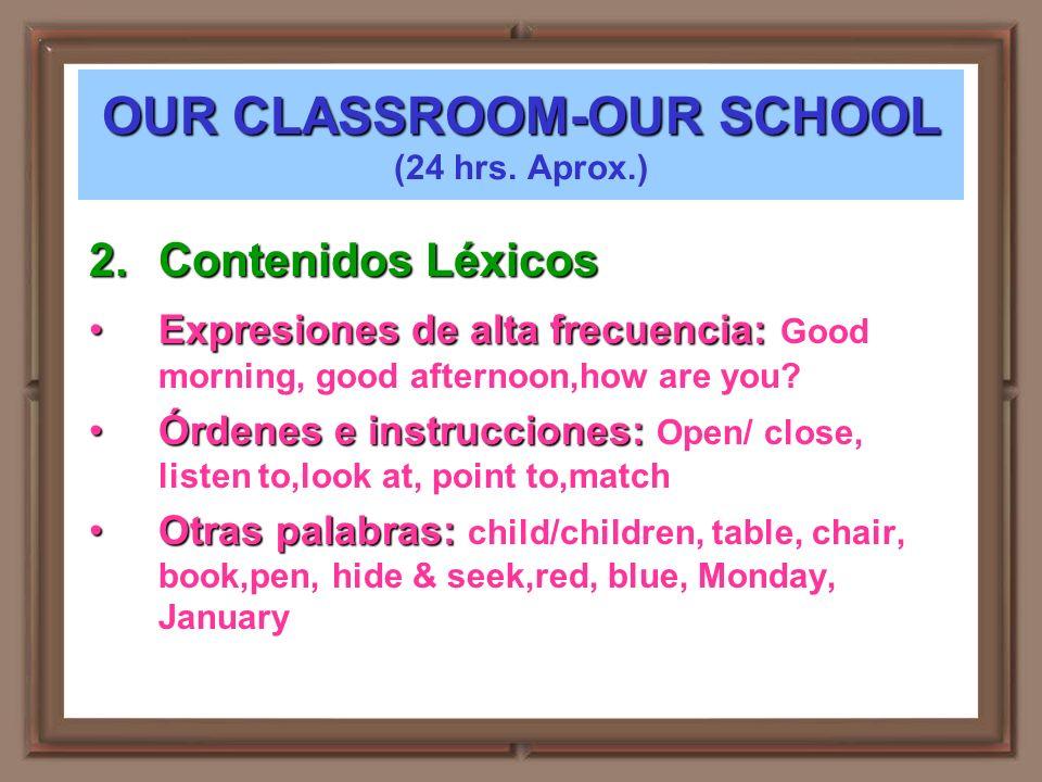 OUR CLASSROOM-OUR SCHOOL OUR CLASSROOM-OUR SCHOOL (24 hrs. Aprox.) 2.Contenidos Léxicos Expresiones de alta frecuencia:Expresiones de alta frecuencia: