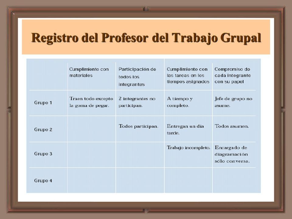 Registro del Profesor del Trabajo Grupal